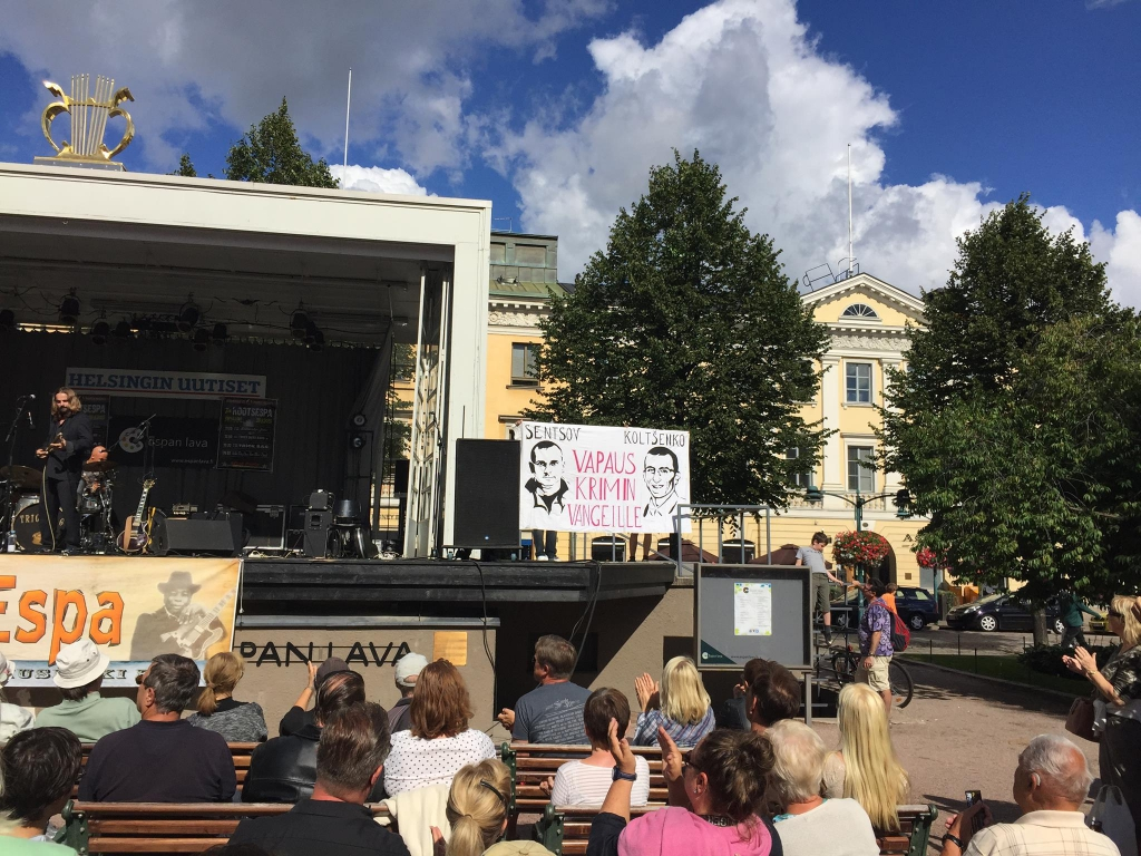 Solidarity action for Kolchenko and Sentsov in Helsinki