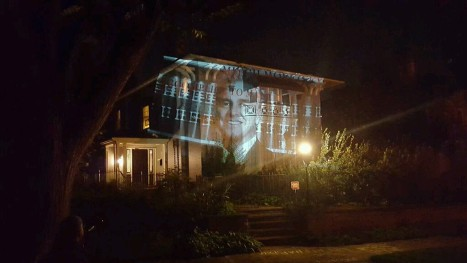 Video of Deputy Sheriff Brady Lovinger beating Anthony Waller in court in 2012. Projected onto District Attorney Mitch Morrissey's house 9/9/15