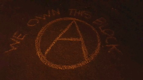Chalk left in the street outside DA Mitch Morrisey's house