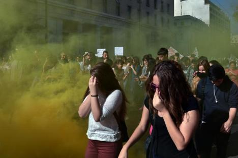 Police used teargas against protesters in Athens Thursday.  AFP/Getty Images