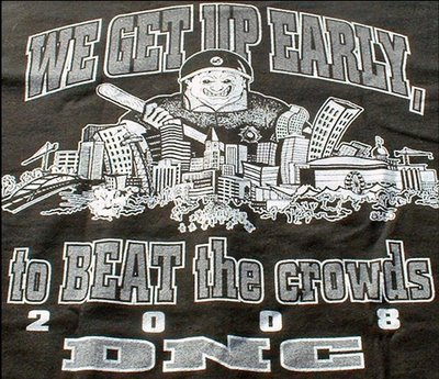 A shirt sold by a Denver police union after the 2008 Democratic National Convention